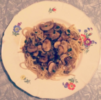 Home made sautéed Mushrooms, Red & Green Onions Pasta