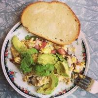 Scrambled eggs with Avocado!